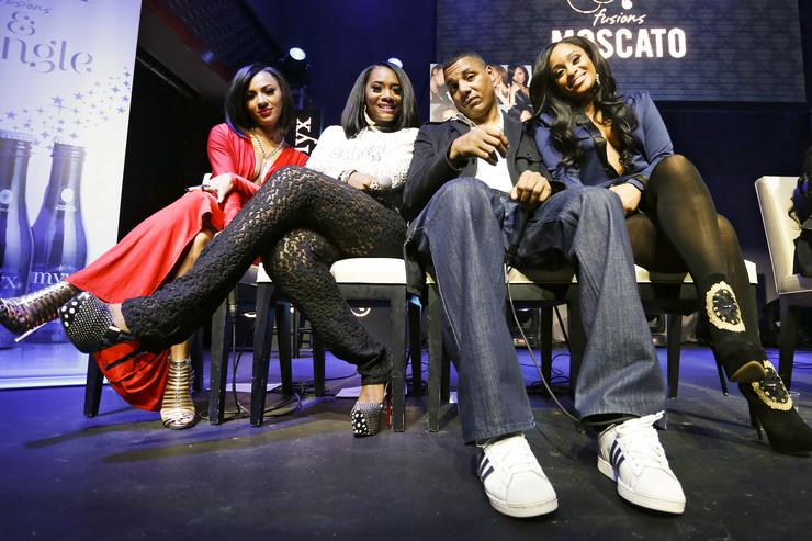 Tara Wallace, Yandy Smith, Rich Dollaz, and Tahiry appear at the VH1 'Love & Hip Hop' Season 4 Premiere at Stage 48 on October 28, 2013 in New York City