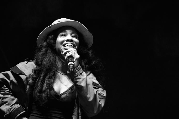 SZA performs on Flog Stage during day one of Tyler, the Creator's 5th Annual Camp Flog Gnaw Carnival at Exposition Park on November 12, 2016 in Los Angeles, California