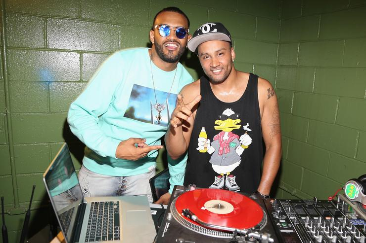 Joyner Lucas and DJ Live attend Joyner Lucas' album Activation Event at Alife on August 20, 2015 in New York City.