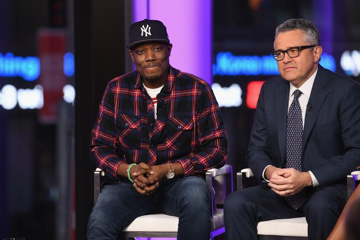 Michael Che and Jeffrey Toobin speak onstage during TIME AND PUNISHMENT: A Town Hall Discussion with JAY Z and Harvey Weinstein on Spike TV at MTV Studios on March 8, 2017 in New York City