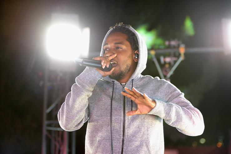 Recording artist Kendrick Lamar performs at #GETPUMPED live event. Reebok And Kendrick Lamar Take Over The Streets Of Hollywood, Fusing Fitness And Music With A Ground-Breaking Event on March 24, 2015 in West Hollywood, California