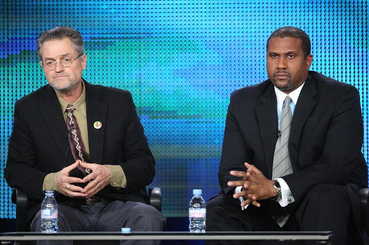 Filmmaker Jonathan Demme (L) and talk show host Tavis Smiley of the television show 'Tavis Smiley Reports' speak during the PBS portion of the 2010 Television Critics Association Press Tour at the Langham Hotel on January 13, 2010 in Pasadena, California