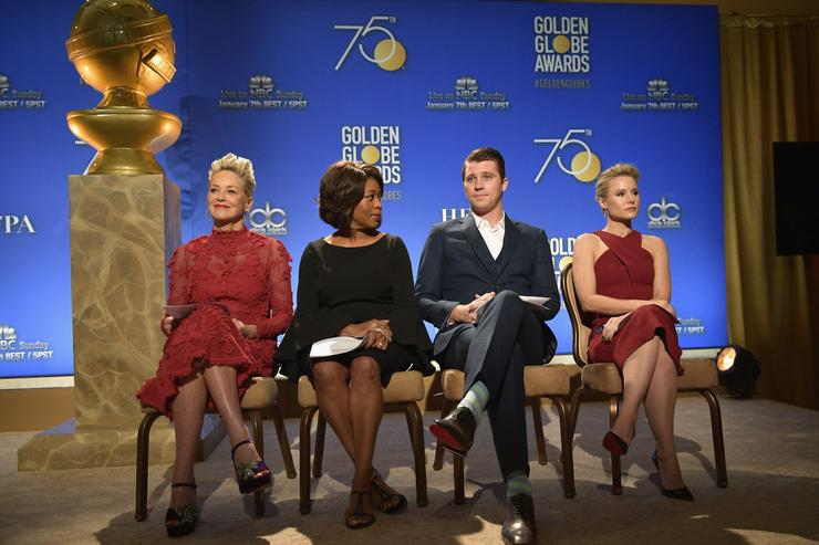 Sharon Stone Alfre Woodard Garrett Hedlund and Kristen Bell attend the 75th Annual Golden Globe Nominations Announcement