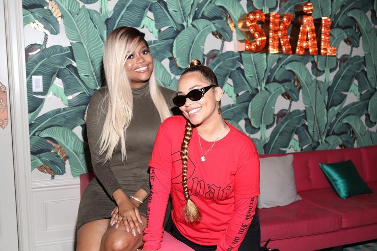 Karen Civil and Lauren London attend MERRY JANE kick off of Loud & Clear campaign with DJ Snoopadelic (aka Snoop Dogg) at Los Angeles dinner event held at the private residence of Jonas Tahlin, CEO Absolut Elyx on September 13, 2017 in Los Angeles, California