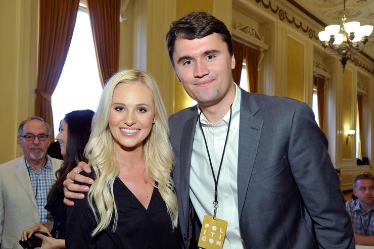 Tomi Lahren (L) and Charlie Kirk at Politicon at Pasadena Convention Center on July 29, 2017 in Pasadena, California
