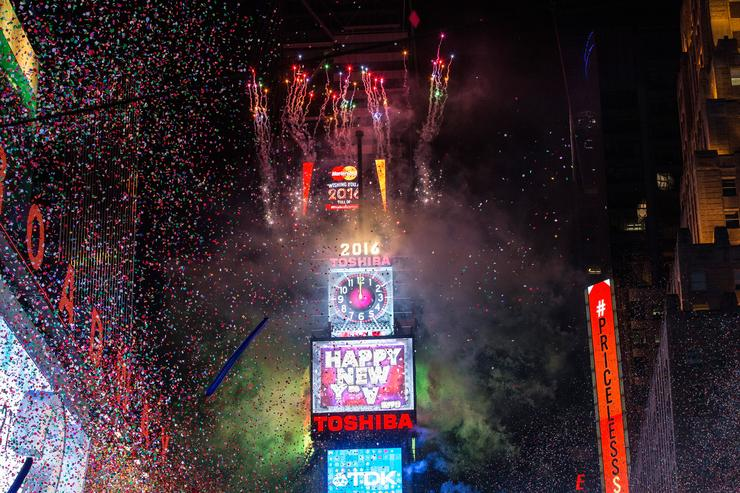 Fireworks go off as the new year is rung in in Times Square on January 1, 2016 in New York City. The New York City Police Department deployed more than 6,000 officers in the Times Square area, including more than 1,100 officers who graduated from the police academy on Tuesday