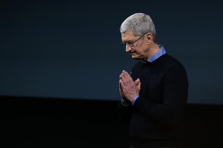 Apple CEO Tim Cook speaks during an Apple special event at the Apple headquarters on March 21, 2016 in Cupertino, California. The company is expected to update its iPhone and iPad lines, and introduce new bands for the Apple Watch