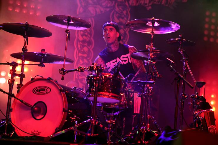 Musician Travis Barker performs with Run the Jewels onstage during day 2 of the 2015 Coachella Valley Music & Arts Festival (Weekend 1) at the Empire Polo Club on April 11, 2015 in Indio, California