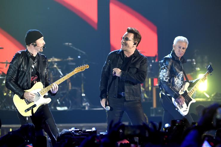 Recording artists The Edge, Bono and Adam Clayton of U2 perform onstage at the 2016 iHeartRadio Music Festival at T-Mobile Arena on September 23, 2016 in Las Vegas, Nevada.