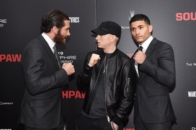 Jake Gyllenhaal, Eminem and Miguel Gomez attend the New York premiere of 'Southpaw' for THE WRAP at AMC Loews Lincoln Square on July 20, 2015 in New York City