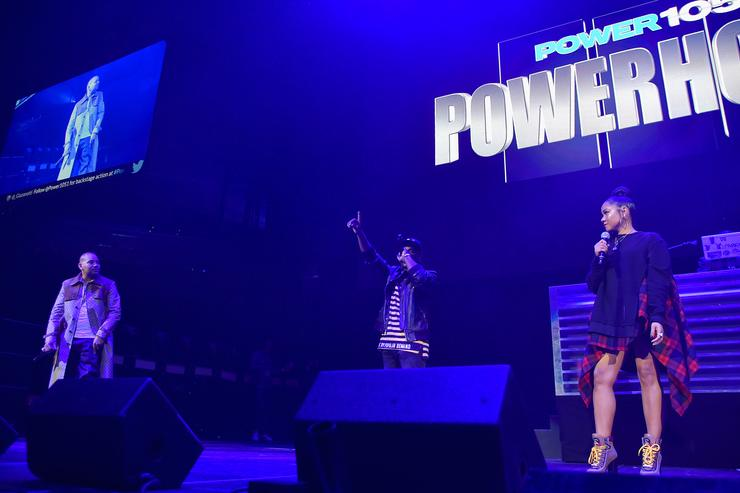DJ Envy, Charlamagne Tha God and Angela Yee speak onstage during 105.1's Powerhouse 2017 at the Barclays Center on October 26, 2017 in the Brooklyn, New York City City