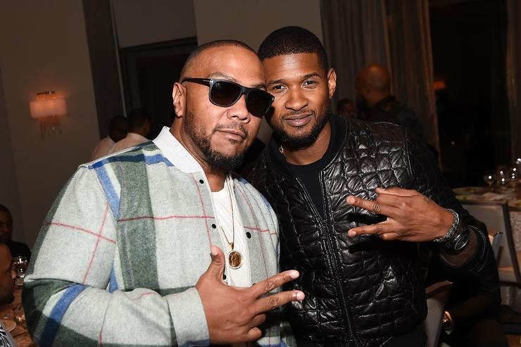Producer Timbaland and recording artist Usher Raymond attend the ASCAP Rhythm And Soul 3rd Annual Atlanta Legends Dinner Honoring Antonio 'L.A.' Reid at Mandarin Oriental Hotel on September 25, 2014 in Atlanta, Georgia