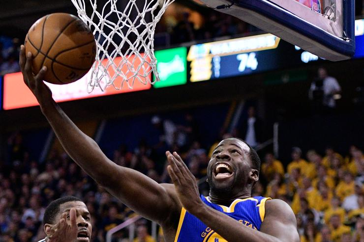 Draymond Green #23 of the Golden State Warriors scores a basket in the second half of their 102-91 win over the Utah Jazz in Game Three of the Western Conference Semifinals during the 2017 NBA Playoffs at Vivint Smart Home Arena on May 6, 2017 in Salt Lake City, Utah
