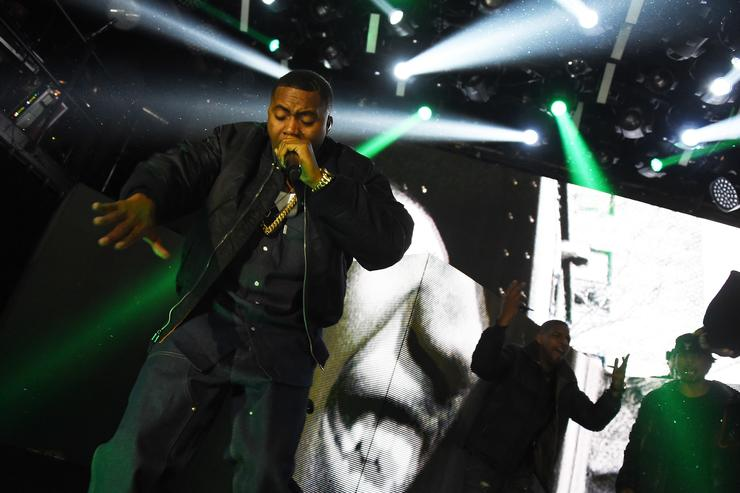Hip-hop superstar Nas performs at the Sprite Obey Your Thirst Concert at Irving Hall in New York City on Friday, Feb. 13. TheÊconcert also featured performances by Drake and Q-Tip
