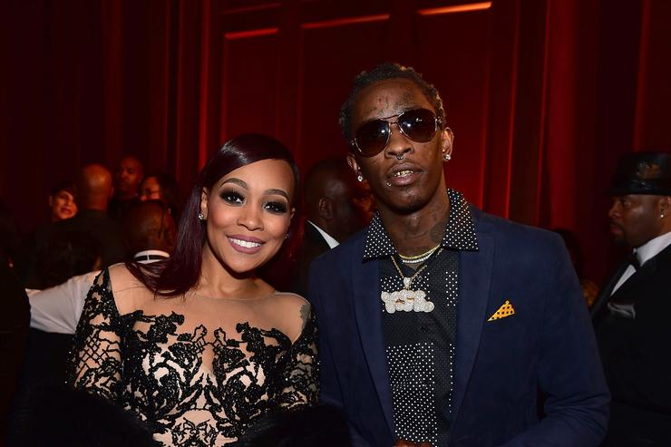 Monica and Young Thug attend attend Rick Ross' 40th Birthday Celebration on January 28, 2016 in Fayetteville, Georgia