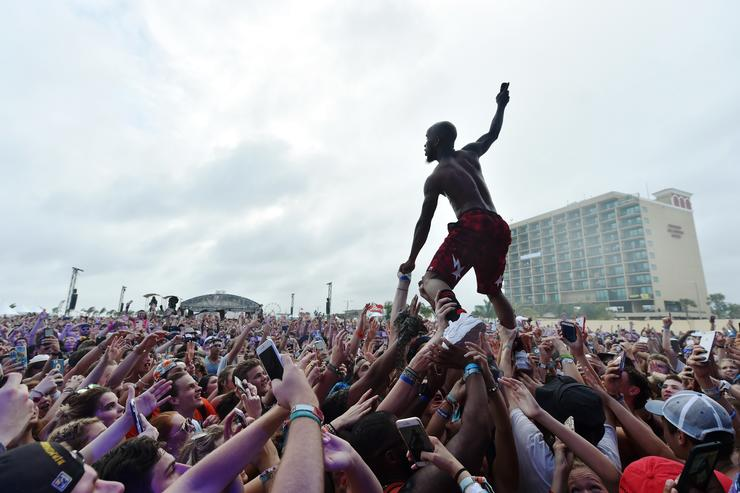 Tory Lanez surfs the crowd at the Surf Stage during 2017 Hangout Music Festival on May 20, 2017 in Gulf Shores, Alabama