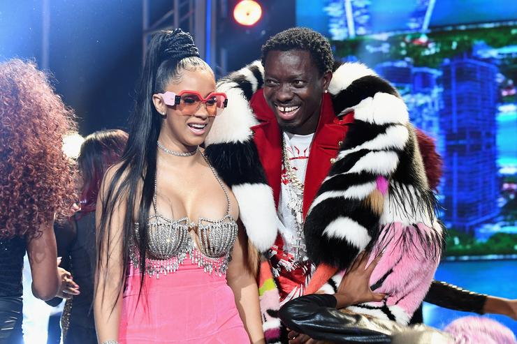 Rapper Cardi B and actor Michael Blackson attend the BET Hip Hop Awards 2017 at The Fillmore Miami Beach at the Jackie Gleason Theater on October 6, 2017 in Miami Beach, Florida