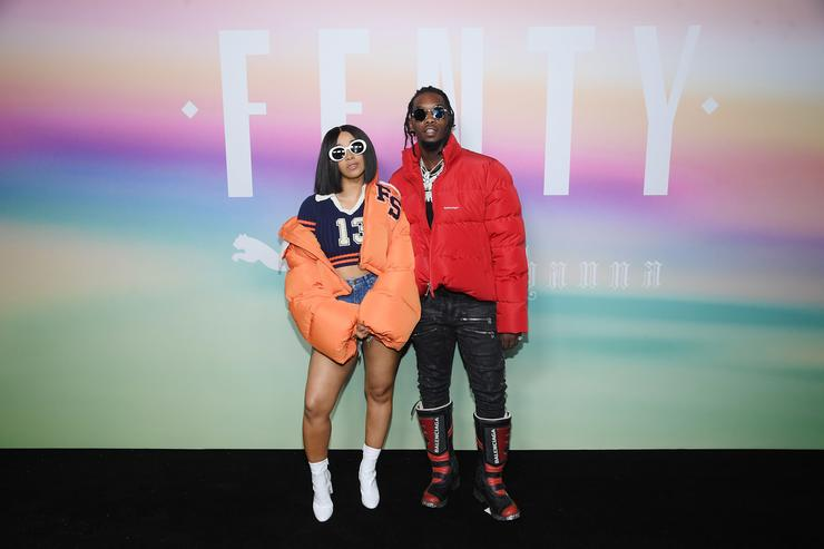 Rappers Cardi B (L) and Offset of Migos attend the FENTY PUMA by Rihanna Spring/Summer 2018 Collection at Park Avenue Armory on September 10, 2017 in New York City