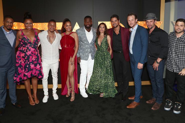 Michael Ferguson, showrunner Courtney Kemp, actor Rotimi Akinosho, actress La La Anthony, Curtis '50 Cent' Jackson, actress Lela Loren, actors JR Ramirez, Shane Johnson, David Fumero and Jerry Ferrara attend STARZ 'Power' Season 4 L.A. Screening And Party at The London West Hollywood on June 23, 2017 in West Hollywood, California