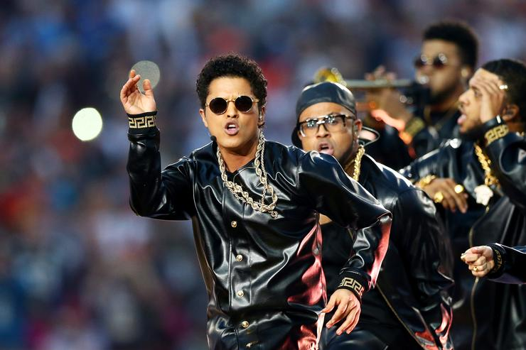 Bruno Mars performs during the Pepsi Super Bowl 50 Halftime Show at Levi's Stadium on February 7, 2016 in Santa Clara, California