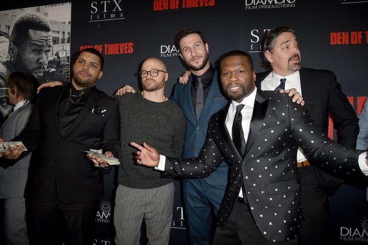 O'Shea Jackson Jr., Evan Jones, Pablo Schreiber, 50 Cent and Christian Gudegast attend the premiere of STX Films' 'Den of Thieves' at Regal LA Live Stadium 14 on January 17, 2018 in Los Angeles, California
