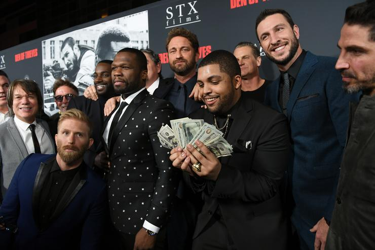 O'Shea Jackson Jr., Gerard Butler, Pablo Schreiber, 50 Cent and cast attend the premiere of STX Films' 'Den of Thieves' at Regal LA Live Stadium 14 on January 17, 2018 in Los Angeles, California