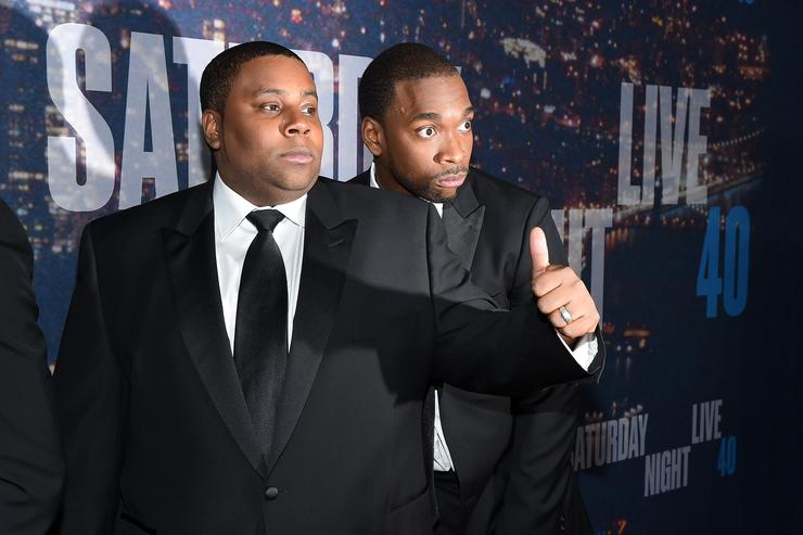 Kenan Thompson (L) and Jay Pharoah attend SNL 40th Anniversary Celebration at Rockefeller Plaza on February 15, 2015 in New York City