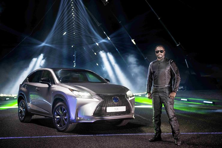 will.i.am poses at the making of Lexus #NXontrack, an audio visual film that sees three Lexus NX cars drive down a 'sound road', fitted with more than 350 motion and audio sensitive lights and lasers to create an audio visual remix of the will.i.am track #thatPOWER