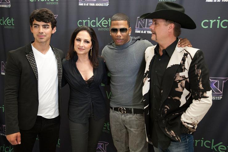 Joe Jonas, Gloria Estefan, Nelly and John Rich pose for a portrait before a live taping of CW's 'The Next' on August 7, 2012 in Dallas, Texas