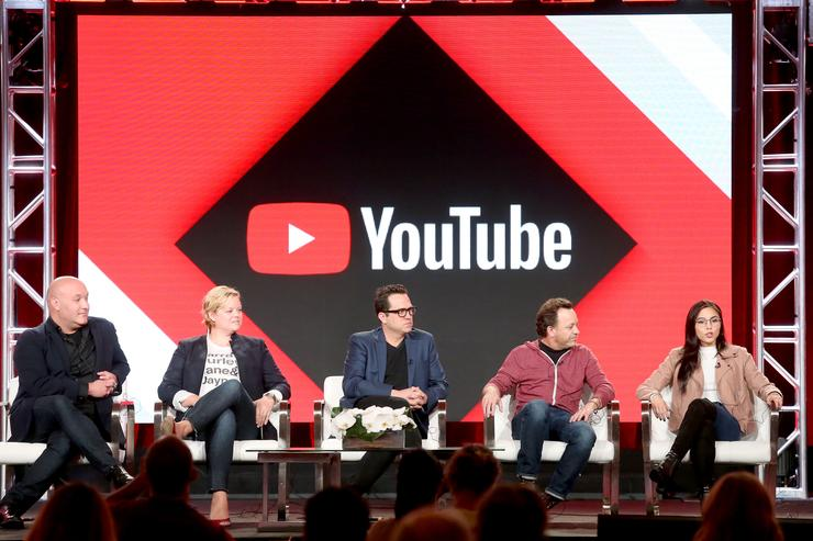 Executive producers Nick Pepper, Jen Chambers, creator/writer Jason Ubaldi, showrunner/executive producer Blair Singer, and actor/executive producer Anna Akana of 'Youth & Consequences' speak onstage during the YouTube portion of the 2018 Winter Television Critics Association Press Tour at The Langham Huntington, Pasadena on January 13, 2018 in Pasadena, California