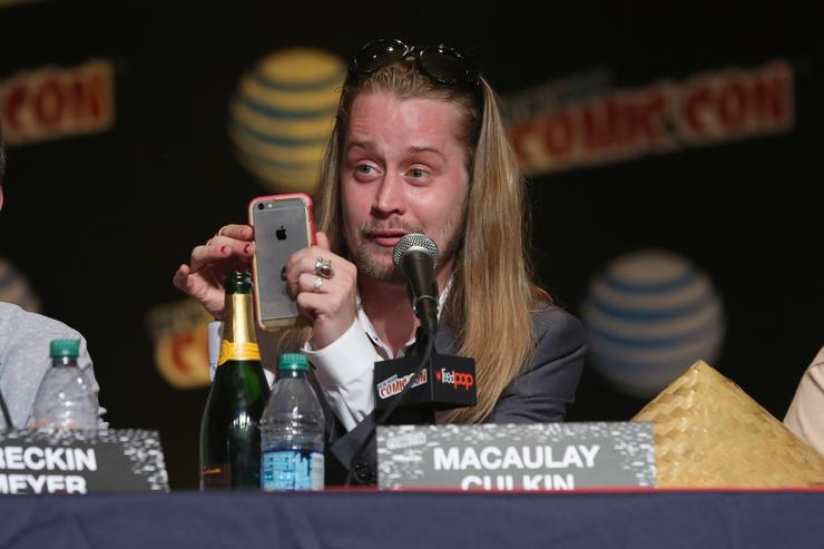 Actor Macaulay Culkin spakes at the Adult Swim Panel: Robot Chicken. Adult Swim at New York Comic Con 2015 at the Jacob Javitz Center on October 9, 2015 in New York, United States