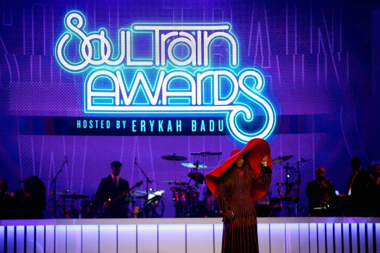 Host Erykah Badu speaks onstage at the 2017 Soul Train Awards, presented by BET, at the Orleans Arena on November 5, 2017 in Las Vegas, Nevada