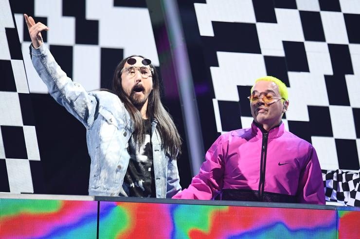 Steve Aoki (L) and J Balvin perform onstage at the 18th Annual Latin Grammy Awards at MGM Grand Garden Arena on November 16, 2017 in Las Vegas, Nevada