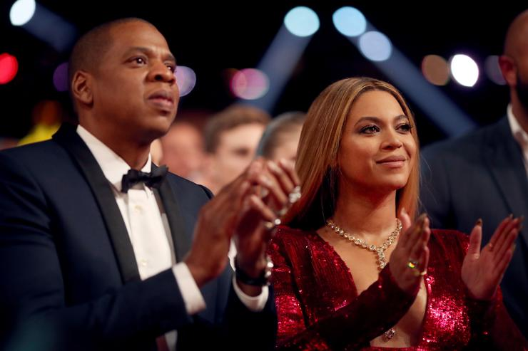 Jay Z (L) and Beyonce attend The 59th GRAMMY Awards at STAPLES Center on February 12, 2017 in Los Angeles, California