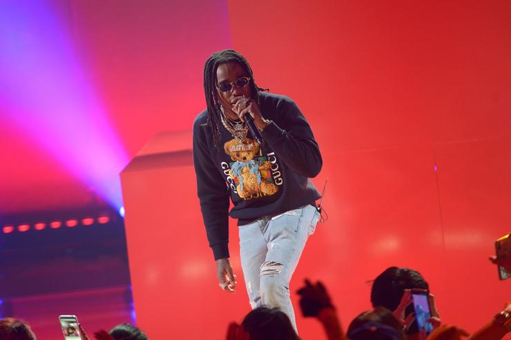 Quavo of Migos performs onstage at iHeartRadio album release party with Migos presented by MAGNUM Large Size Condoms at iHeartRadio Theater on January 22, 2018 in Burbank, California