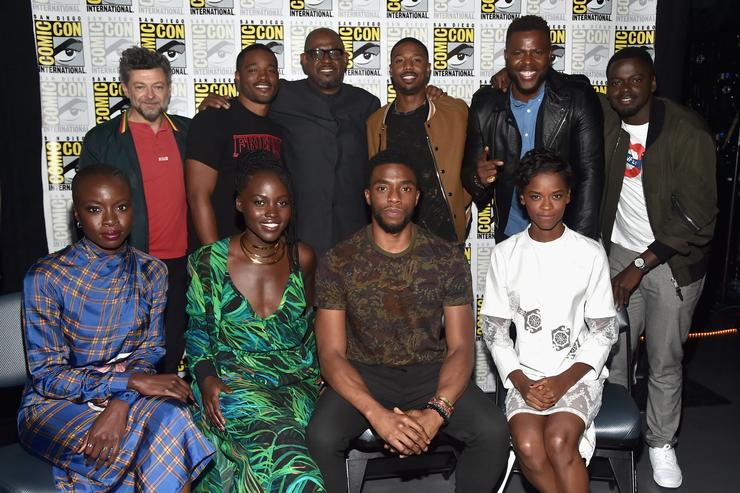 Actor Andy Serkis, director Ryan Coogler, actors Forest Whitaker, Michael B. Jordan, Winston Duke, Daniel Kaluuya, (front row L - R) Danai Gurira, Lupita Nyong'o, Chadwick Boseman and Letitia Wright from Marvel Studios' 'Black Panther' at the San Diego Comic-Con International 2017 Marvel Studios Panel in Hall H on July 22, 2017 in San Diego, California