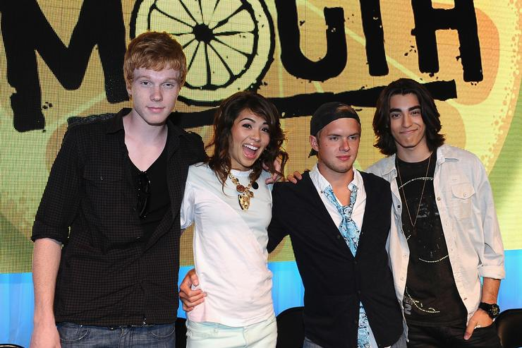 Actor Adam Hicks, actress Hayley Kiyoko, actor Chris Brochu and actor Blake Michael sign autographs at the D23 Expo 2011 at the Anaheim Convention Center on August 19, 2011 in Anaheim, California