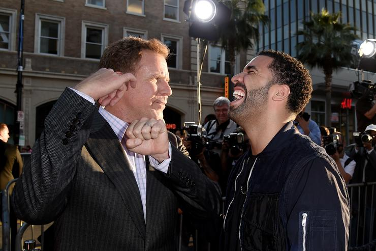 Actor Will Farrell (L) and rapper Drake arrive at the premiere of Warner Bros. Pictures' 'Get Hard' at the Chinese Theatre on March 25, 2015 in Los Angeles, California