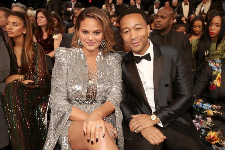 Chrissy Teigen and John Legend at the 2018 Grammys