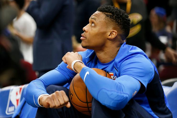 Thunder star Russell Westbrook pushes taunting fan on court