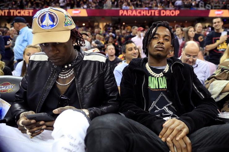 Playboi Carti and Young Thug at basketball game