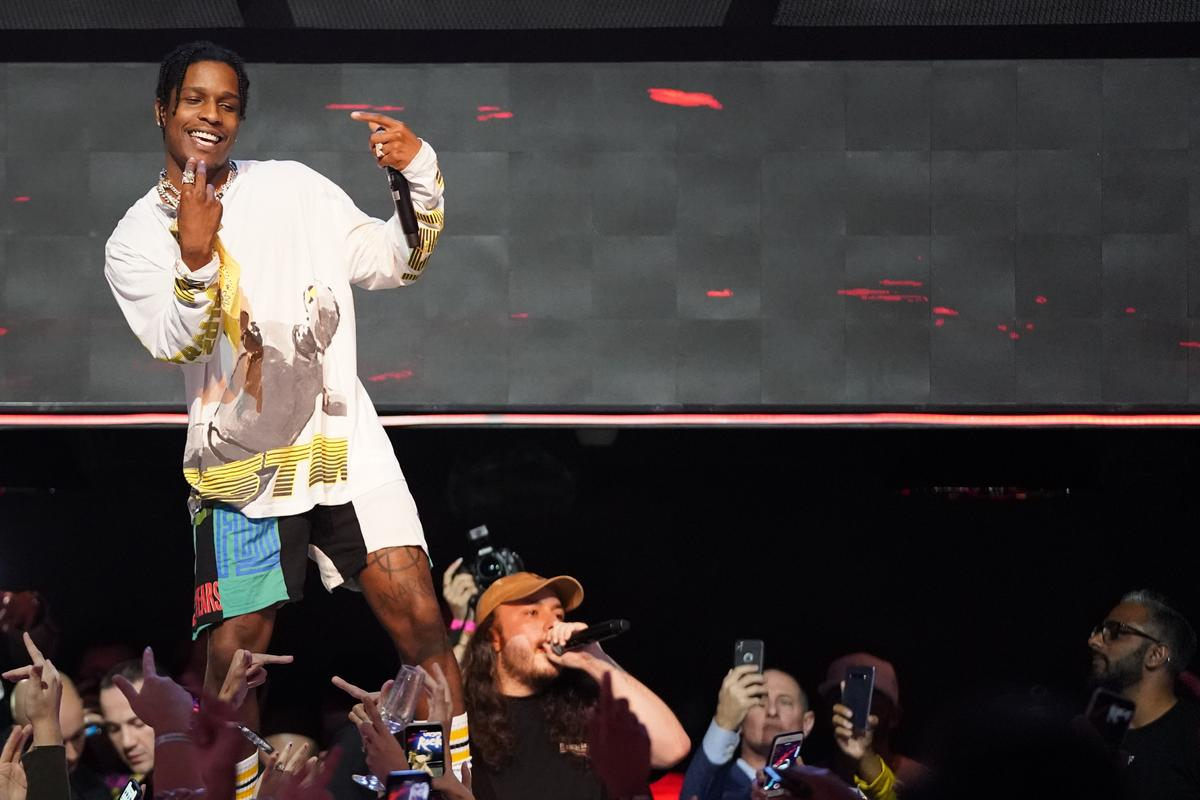 1d08ac493624 ASAP Rocky Steals The Gucci Show With His Stuffed Animal Inspired Pants
